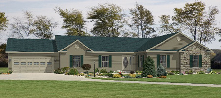 Artist's Rendering of The Extended Family II Modular Home (Pennwest Homes Model: HR170-AG)