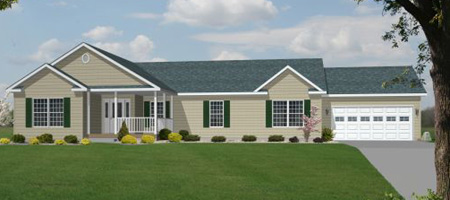 Artist's Rendering of The Hobby Home II Modular Home (Pennwest Homes Model: HR170-AH)