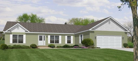 Artist's Rendering of The Quatro II Modular Home (Pennwest Homes Model: HR171-A)