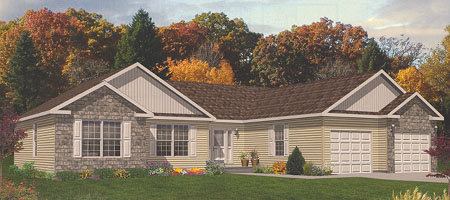Artist's Rendering of The Stratford Ranch Modular Home (Pennwest Homes Model: HT101-A)