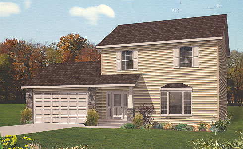 Artist's Rendering of The Bedford Two Story Modular Home (Pennwest Homes Model: HS103-A)