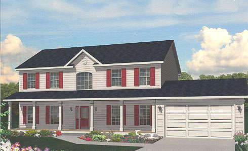Artist's Rendering of The Portland Two Story Modular Home (Pennwest Homes Model: HS104-A)